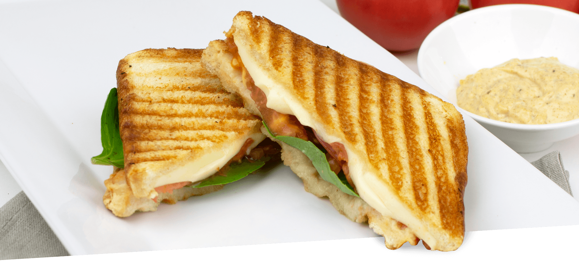 Pink Gourmet Panini Sandwich header BG