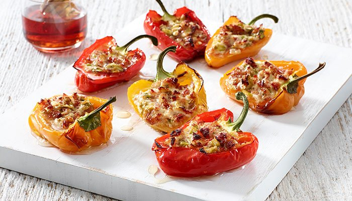 goat cheese stuffed mini peppers display image