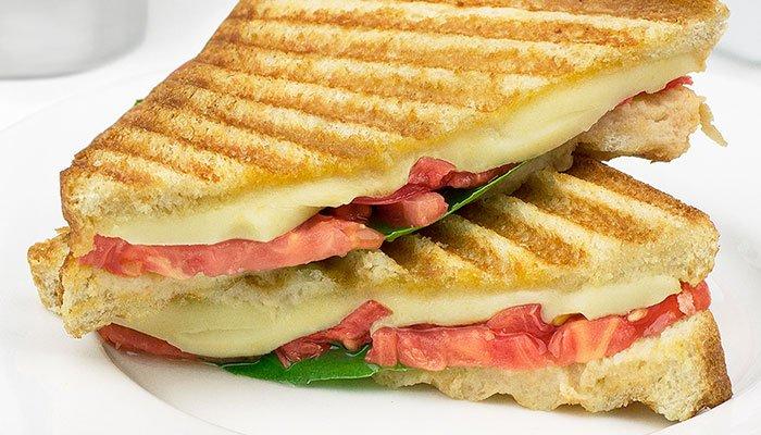 pink gourmet panini sandwich display image