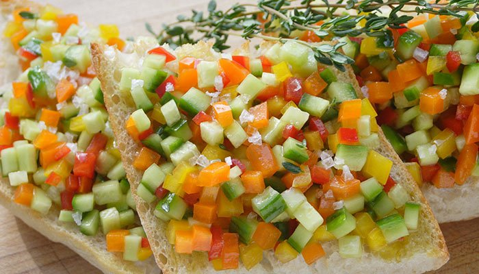 fresh pepper cucumber bruschetta display image